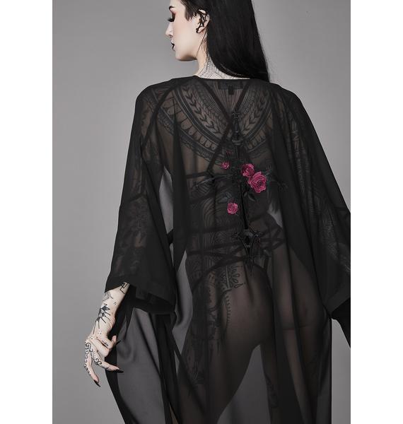 Widow Forbidden Rose Embroidered Kimono