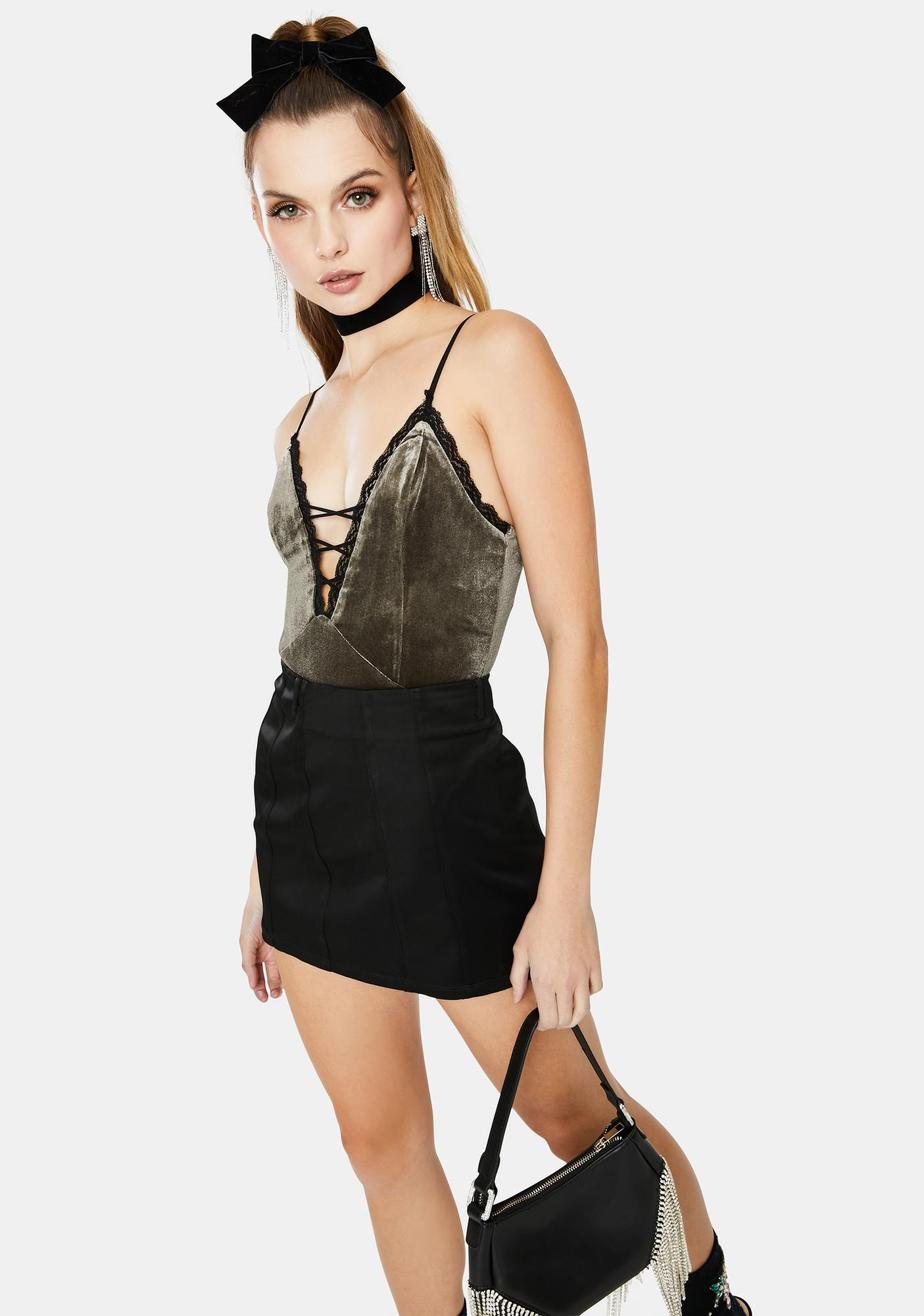Dream Bandits Australia Khaki Miss Moss Lace Up Velvet Bodysuit