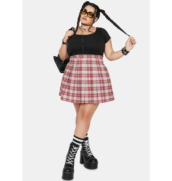 Beige So Miss Popular Pleated Skirt