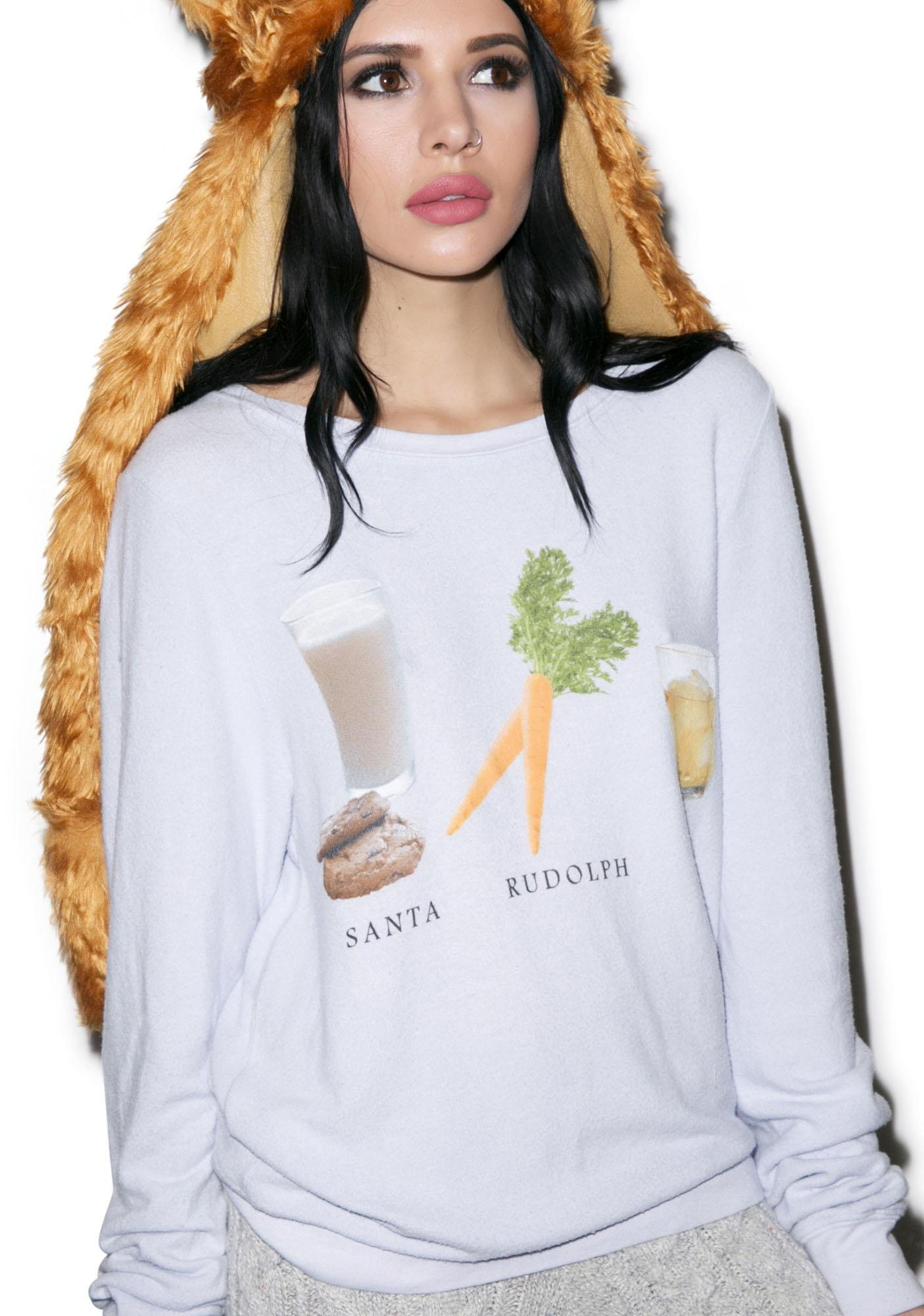 Wildfox Couture Christmas Eve Checklist Baggy Beach Jumper