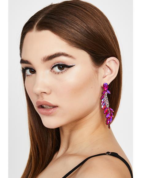 Sweet Prismatic Ivy Rhinestone Earrings