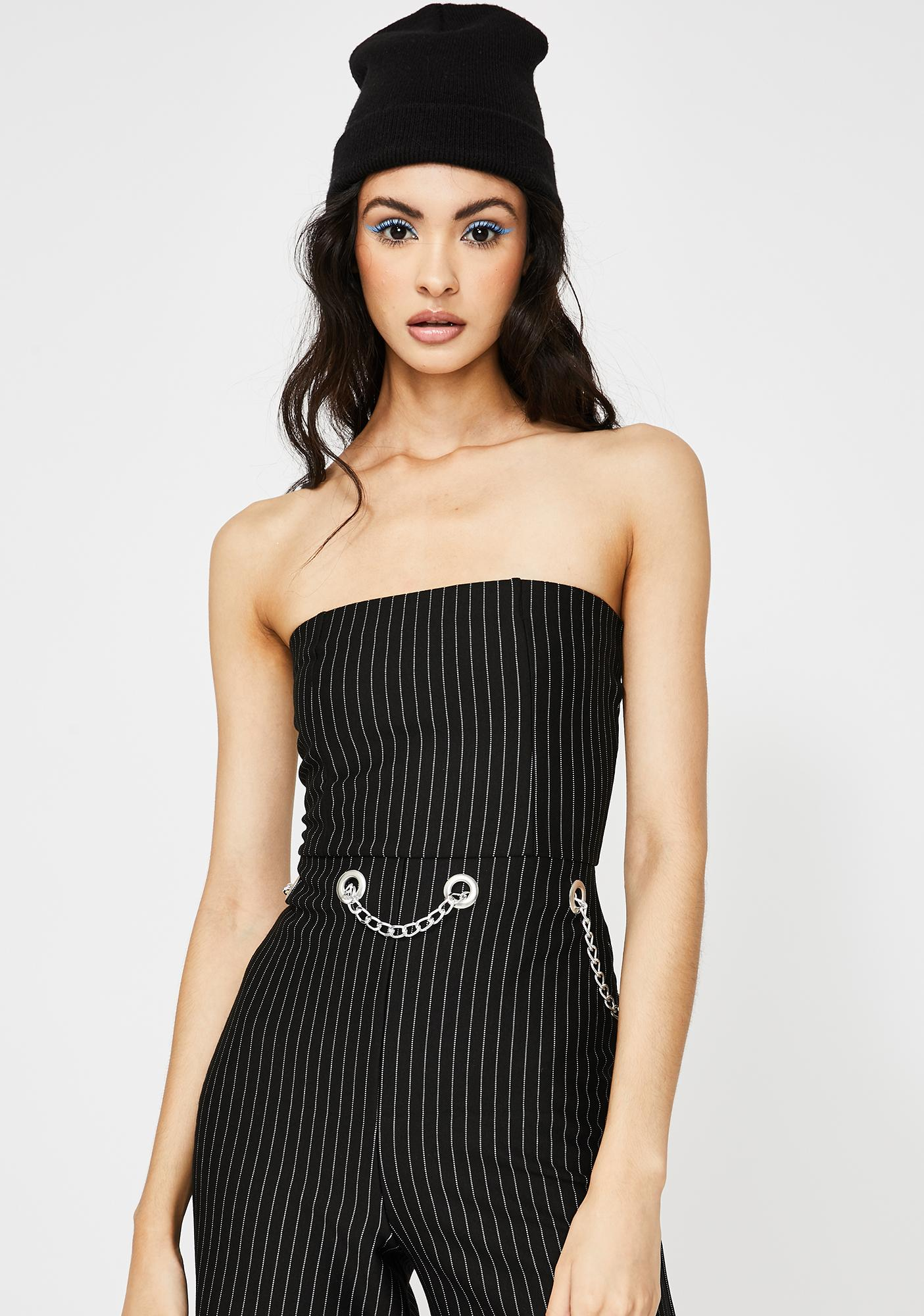 Another Reason Pinstripe Chain Jumpsuit