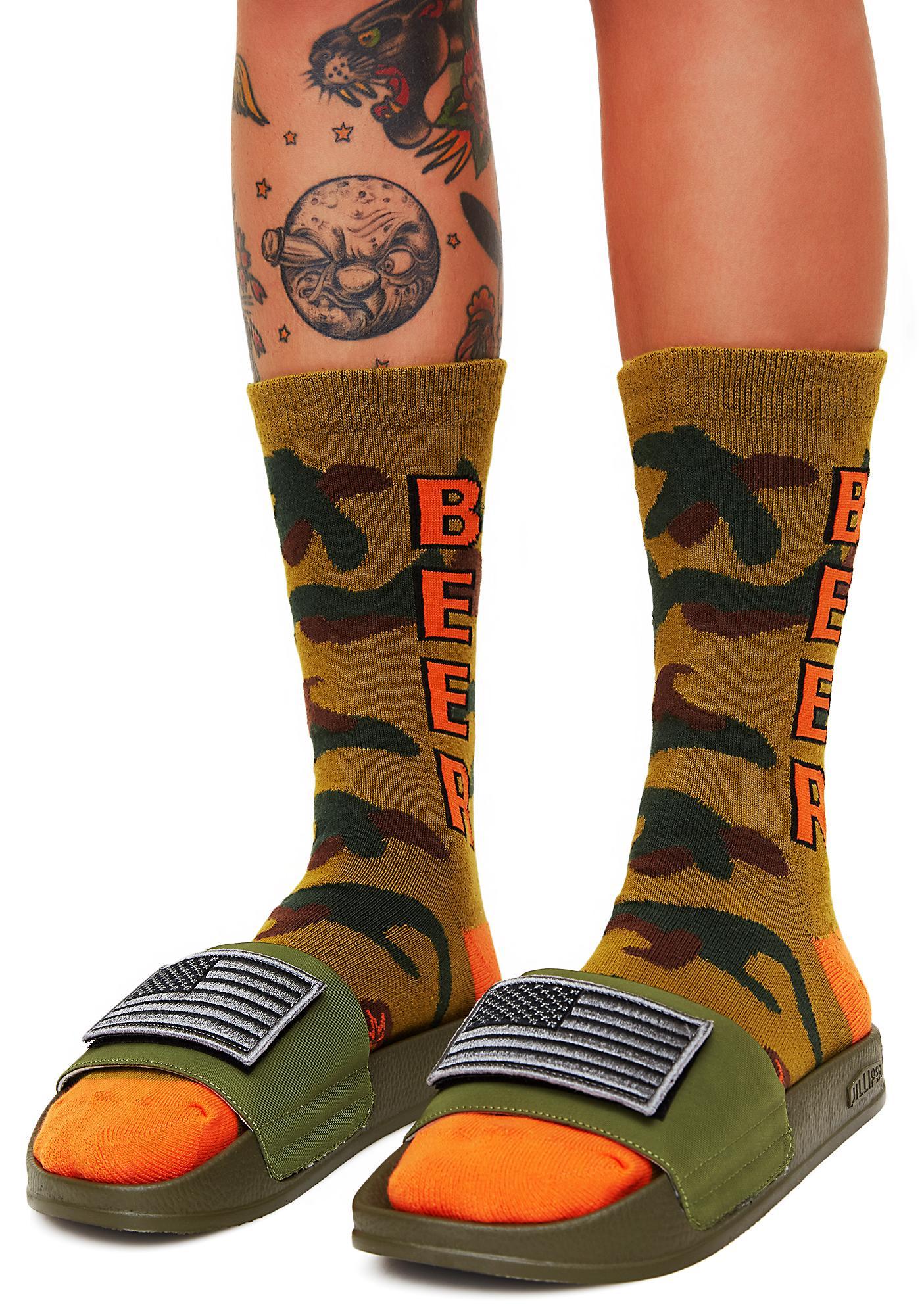 Gumball Poodle Camo Beer Crew Socks