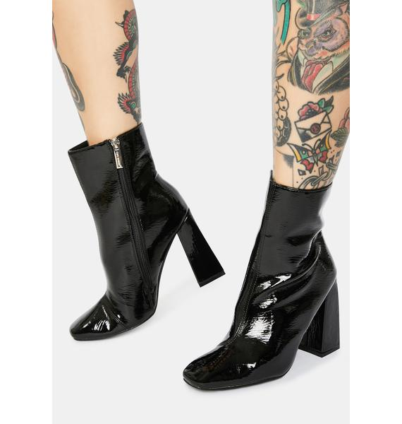 Patent Wicked Rude Attitude Ankle Boots