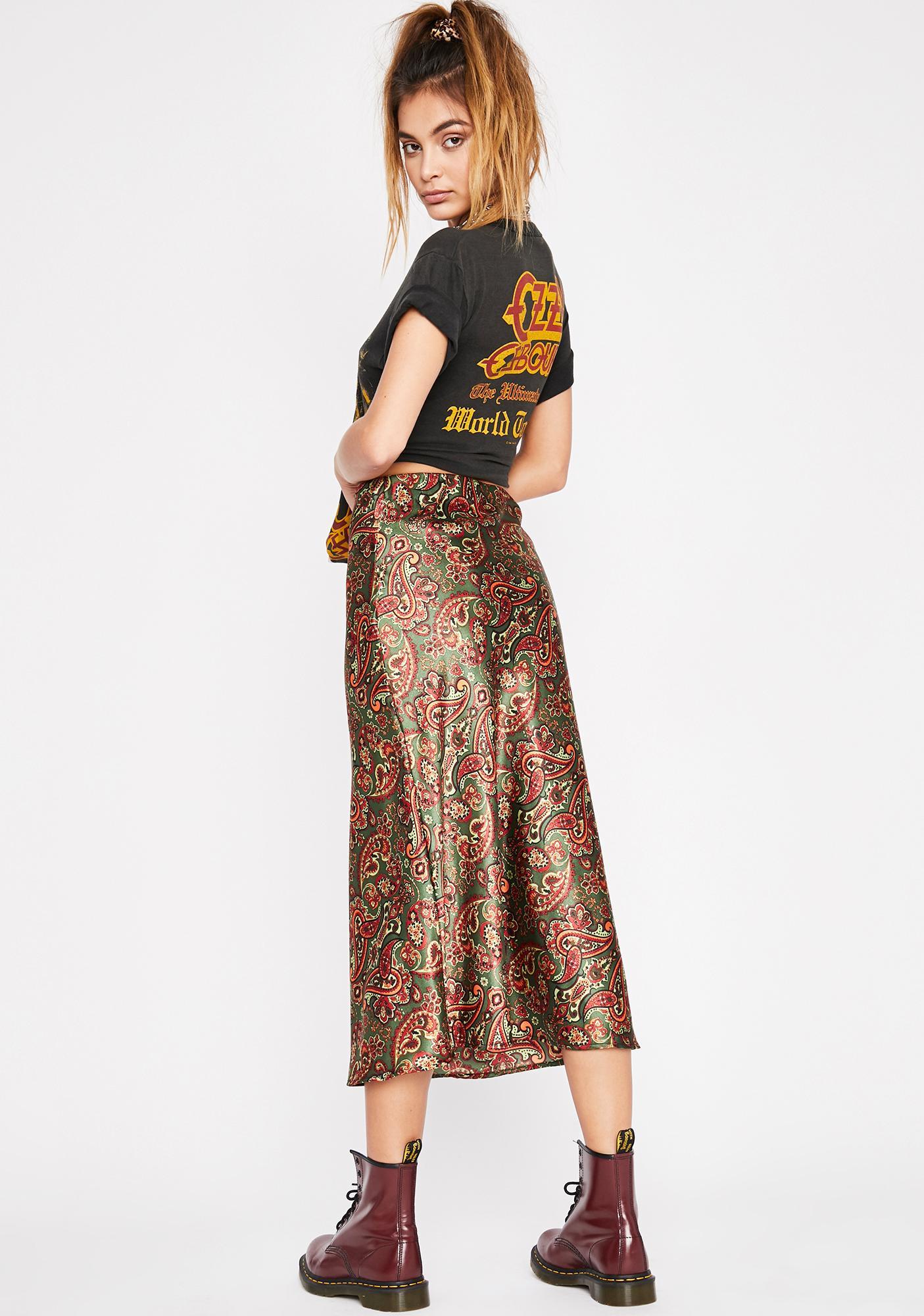 Olive Luxury Level Satin Skirt