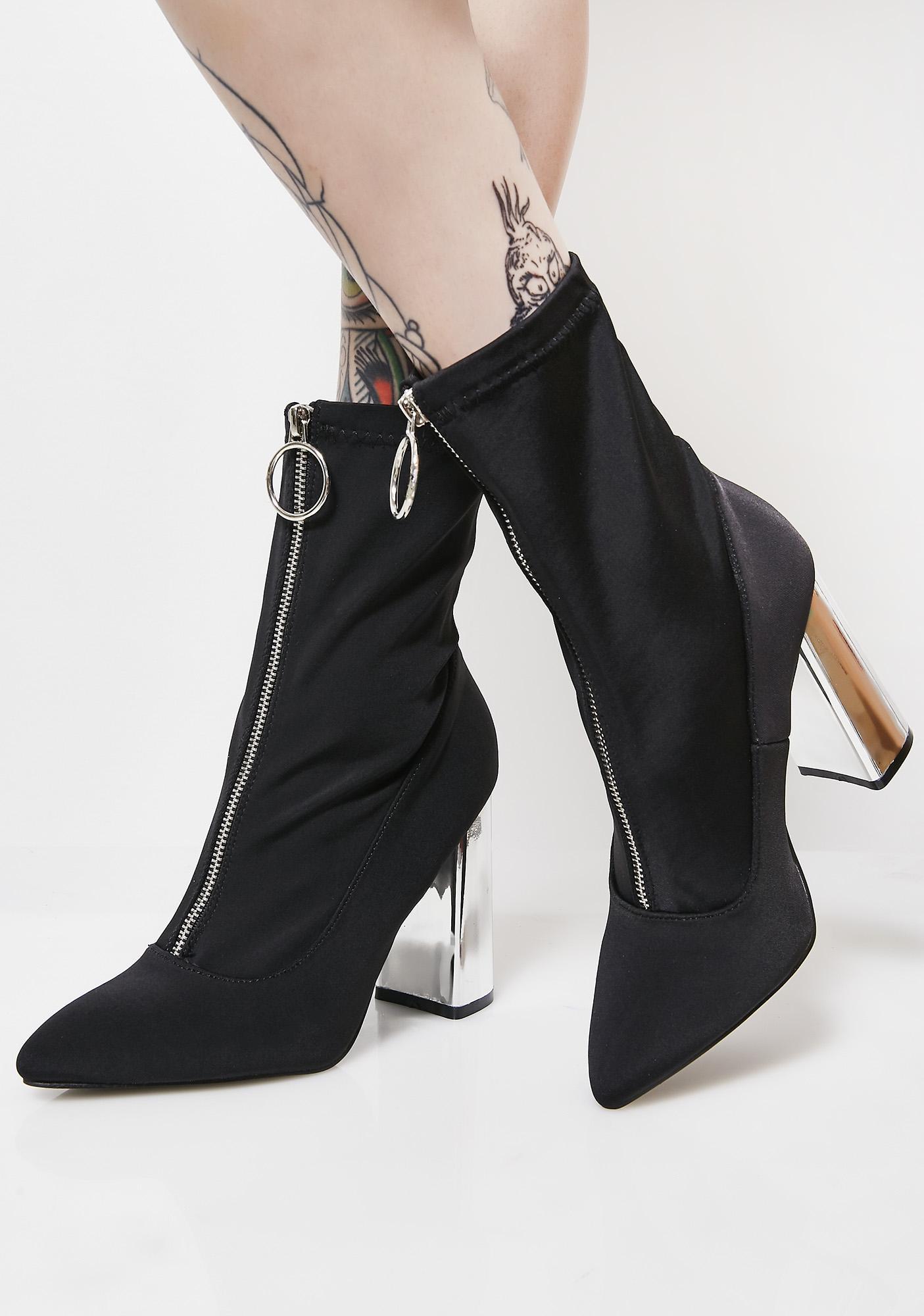 3b96fd24820 Public Desire Sceptic Zip Front Lycra Ankle Boots