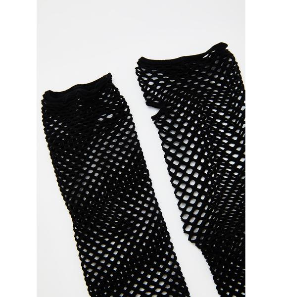 Midnight Enchanted Siren Fishnet Gloves