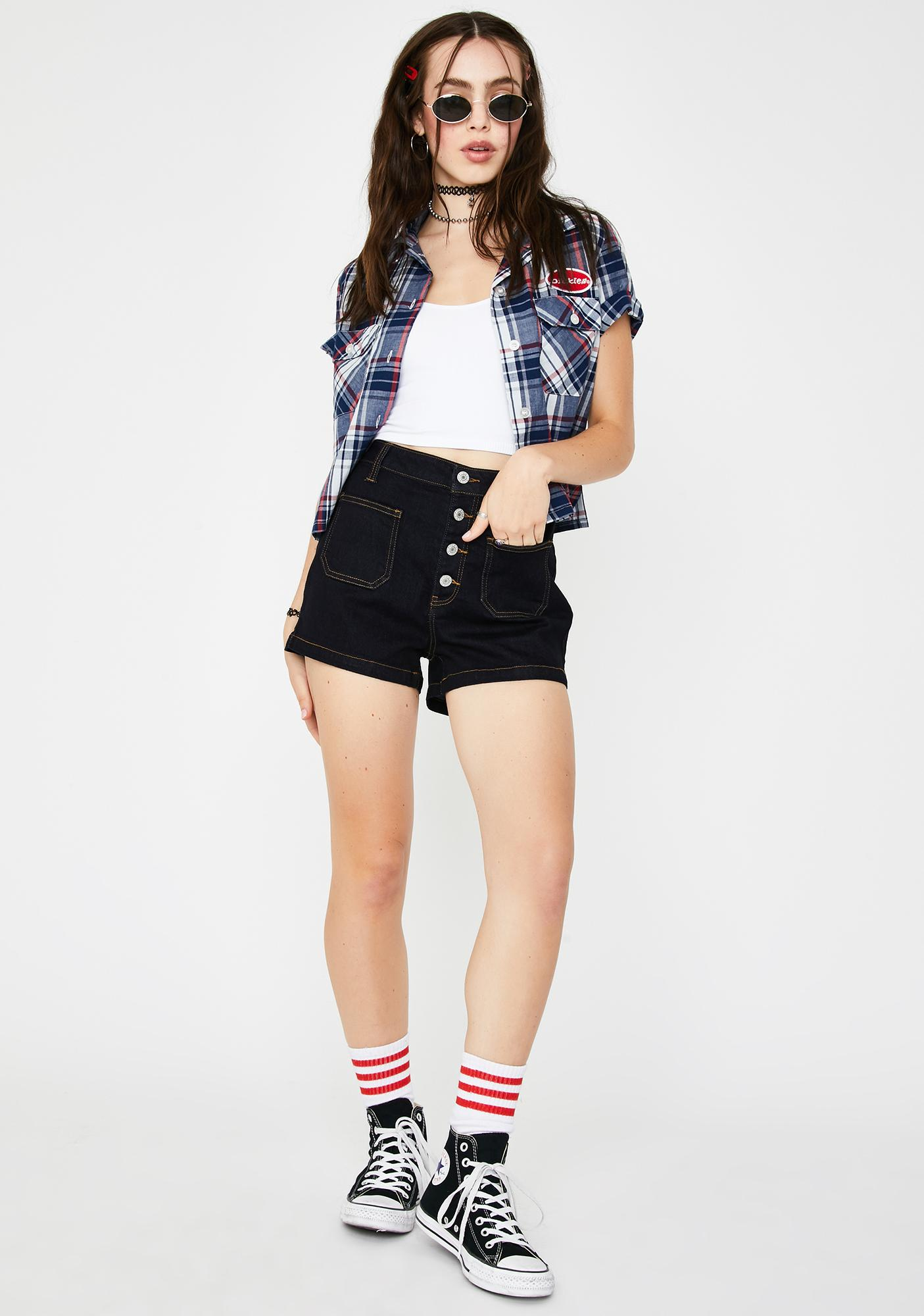 Dickies Girl Rinse Wash Exposed Button Denim Shorts