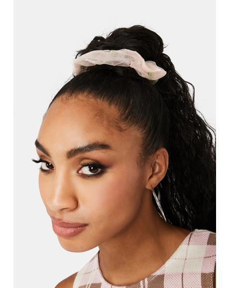 Summer Hair Sheer Daisy Scrunchie