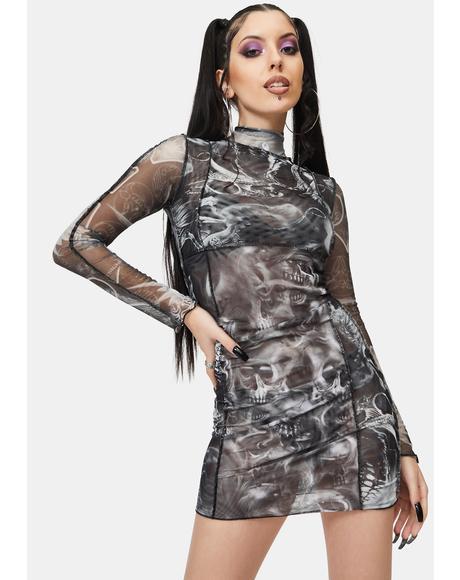 Spliced Mesh Bodycon Dress