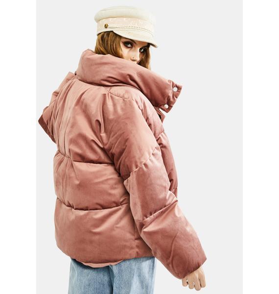 VIGOSS Pink Velvet Puffer Jacket