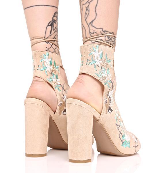Artemis Floral Lace-Up Heels