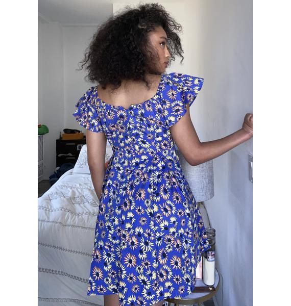 Glamorous Blue Floral Mini Dress