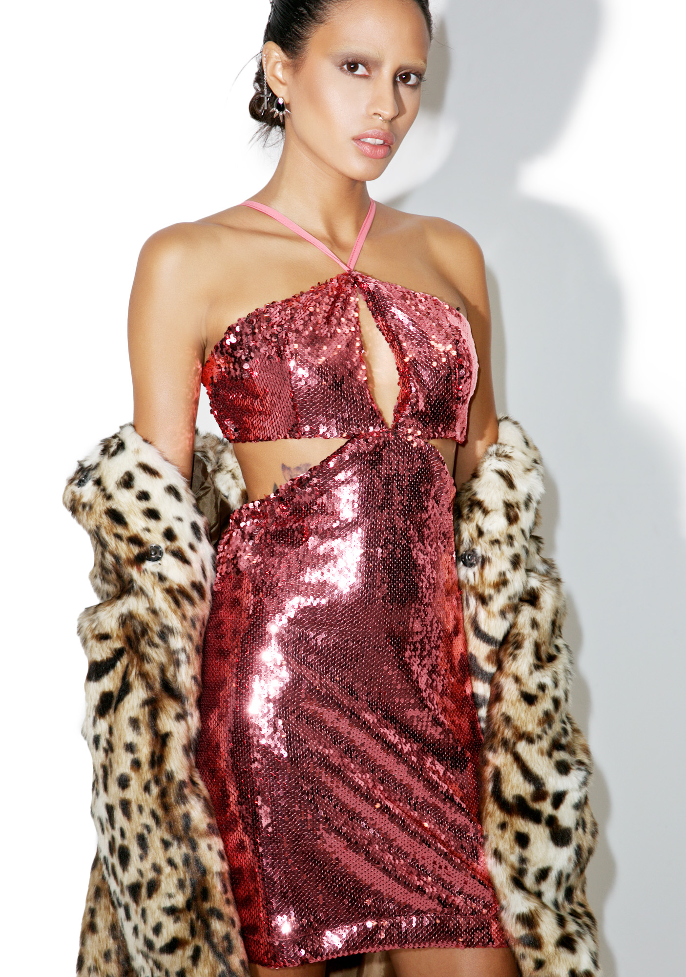 Glamorous Rose Sequin Desire Cut-Out Dress
