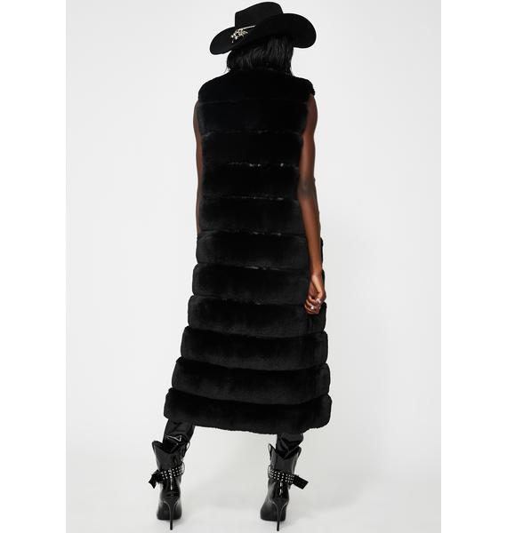 AZALEA WANG Black Jenny Lin Long Faux Fur Vest