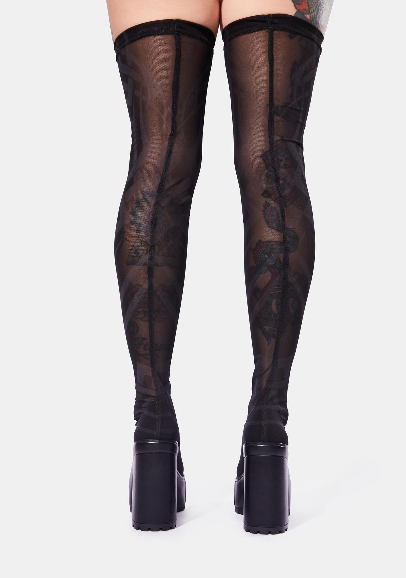 DARKER WAVS Snare Tattoo Print Mesh Thigh High Boots