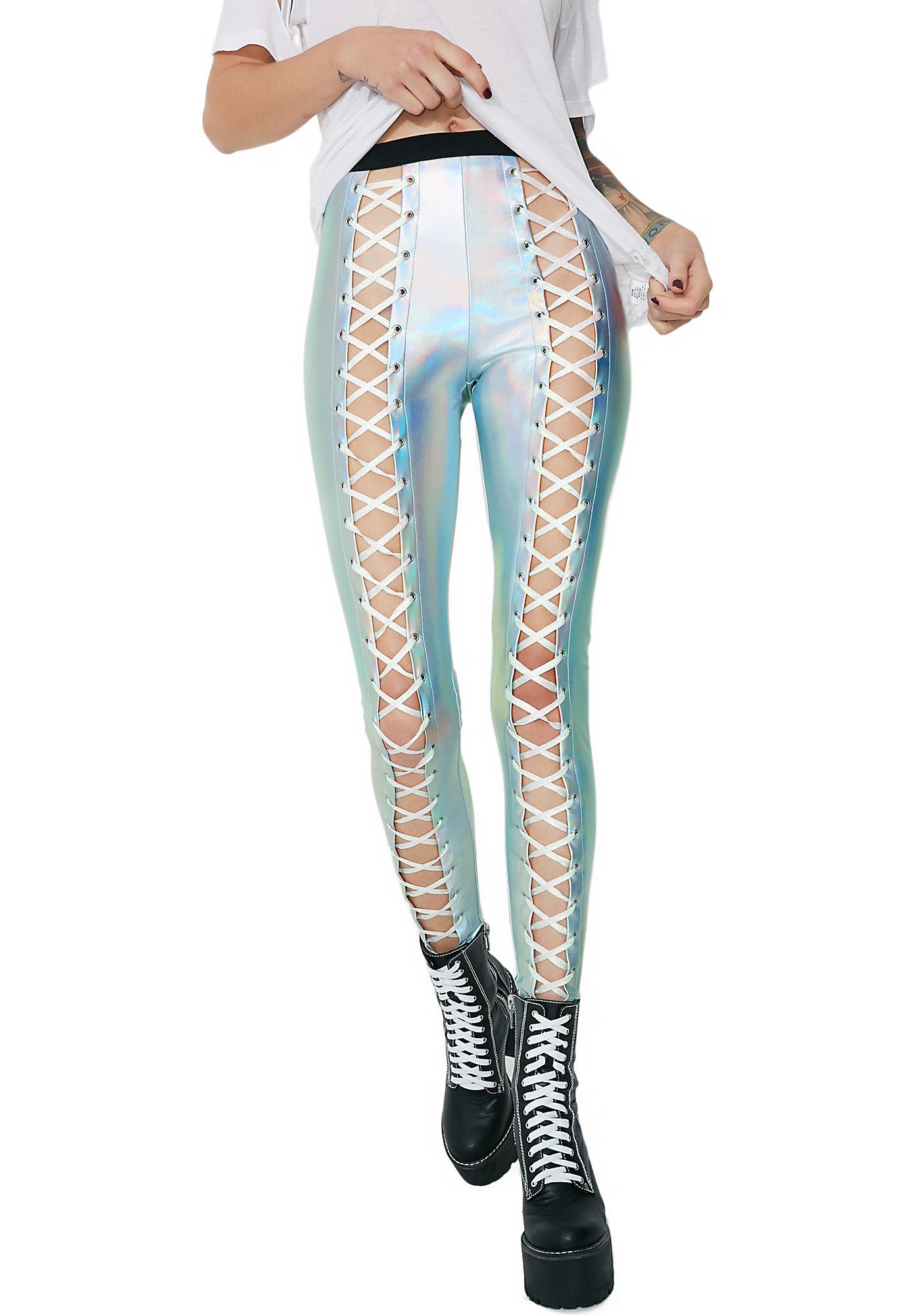 0947c453bb8ad Club Exx Holographic Nancy Corset Leggings | Dolls Kill