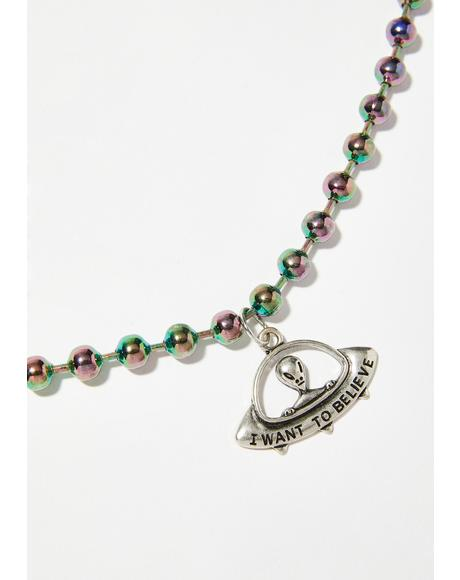 Alien Babe Oil Slick Necklace