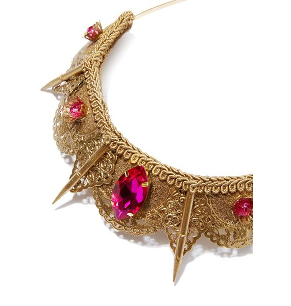 Loschy Designs Pink Gem Filigree Spike Tiara