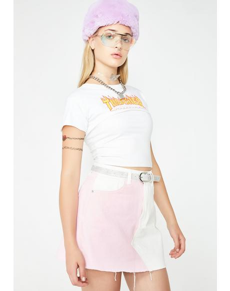 Pink N' White Denim Skirt