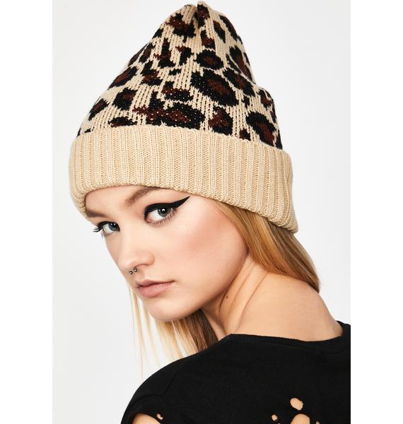 Fierce Winter Leopard Beanie