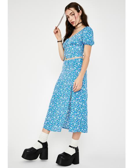 Blue Bloom Saika Midi Skirt