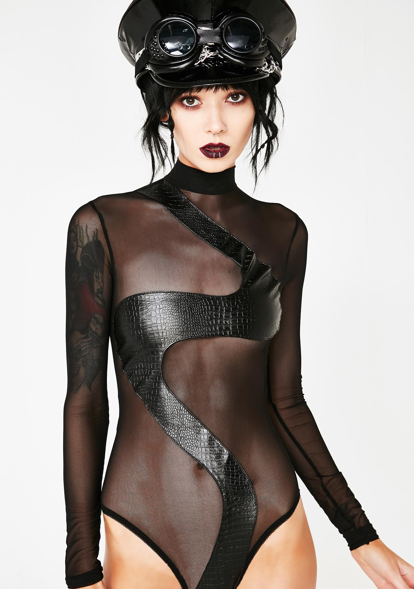 f99c217b7a5 Black Sheer Snake Bodysuit | Dolls Kill