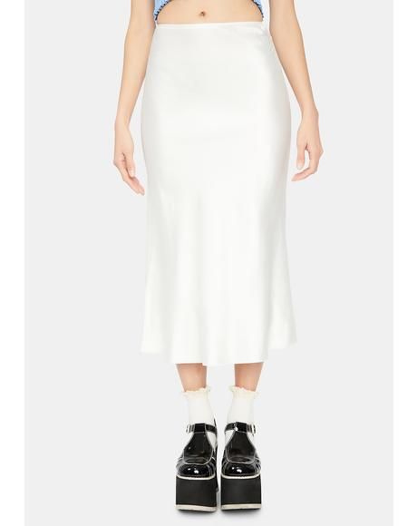For The Record Satin Midi Skirt