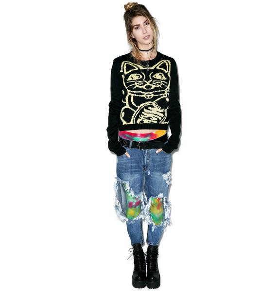 Mink Pink Lucky Cat Sweater