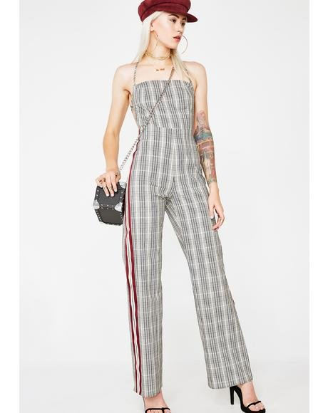 Down To Biznass Plaid Jumpsuit