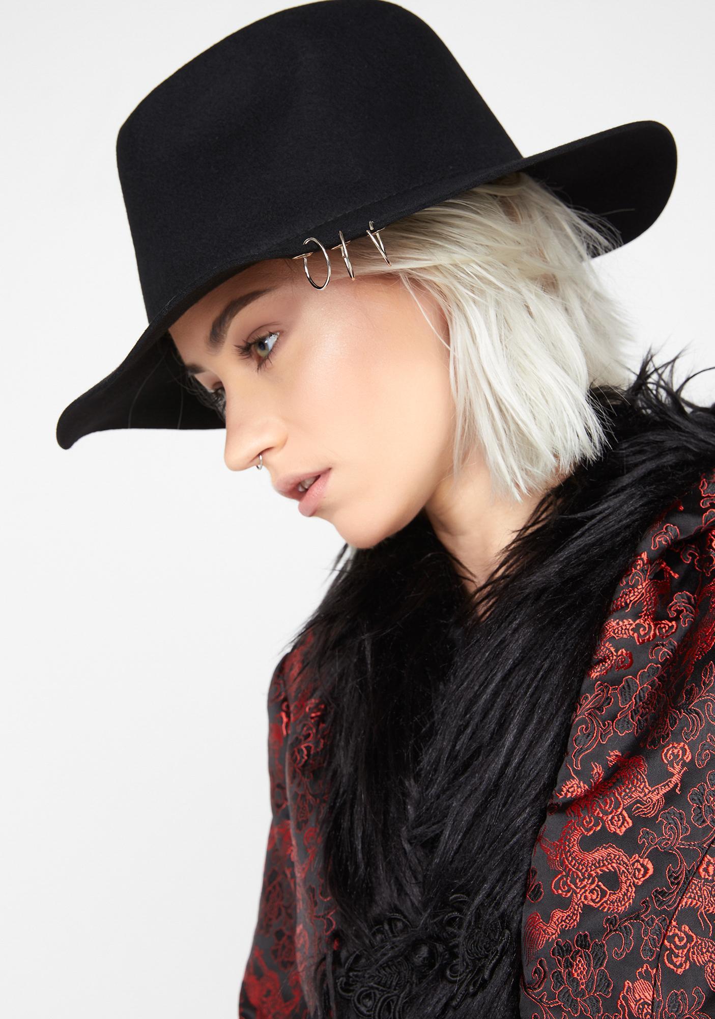Noir Pierced Heart Wide Brim Hat