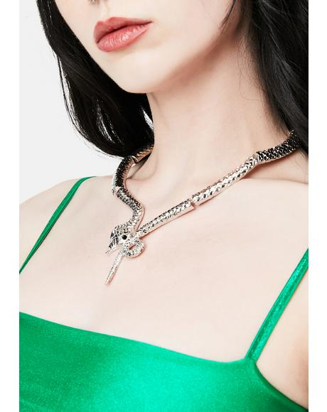 Silver Stinging Bite Snake Necklace