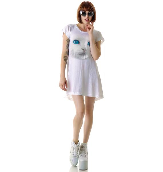 Wildfox Couture White Cat Daisy Dress