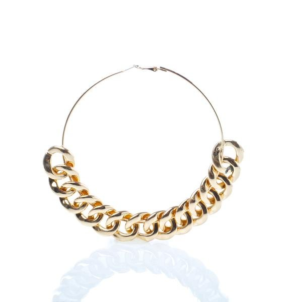 Golden Chain Gang Hoop Earrings