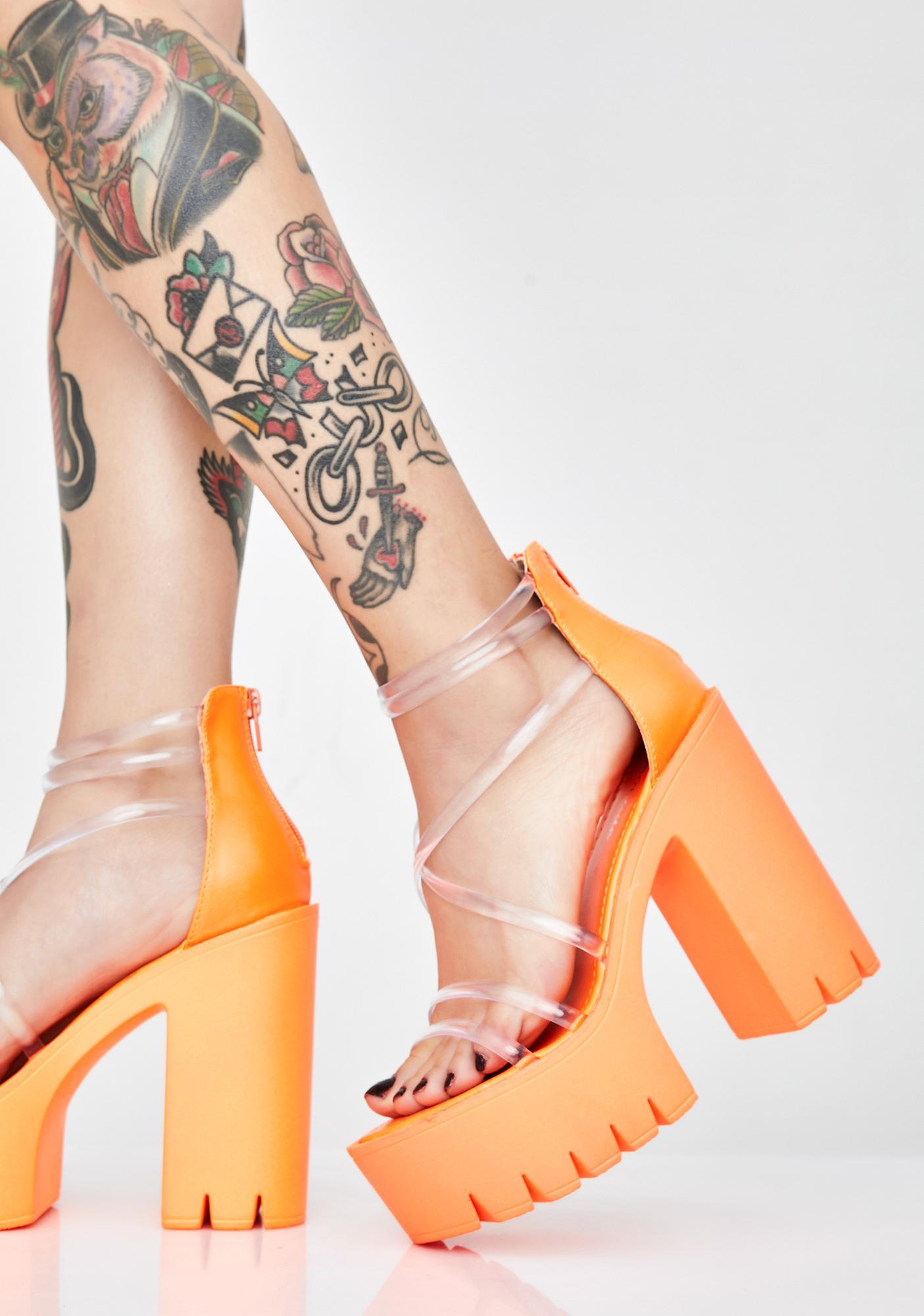 Chunky Cleated Platform Heels