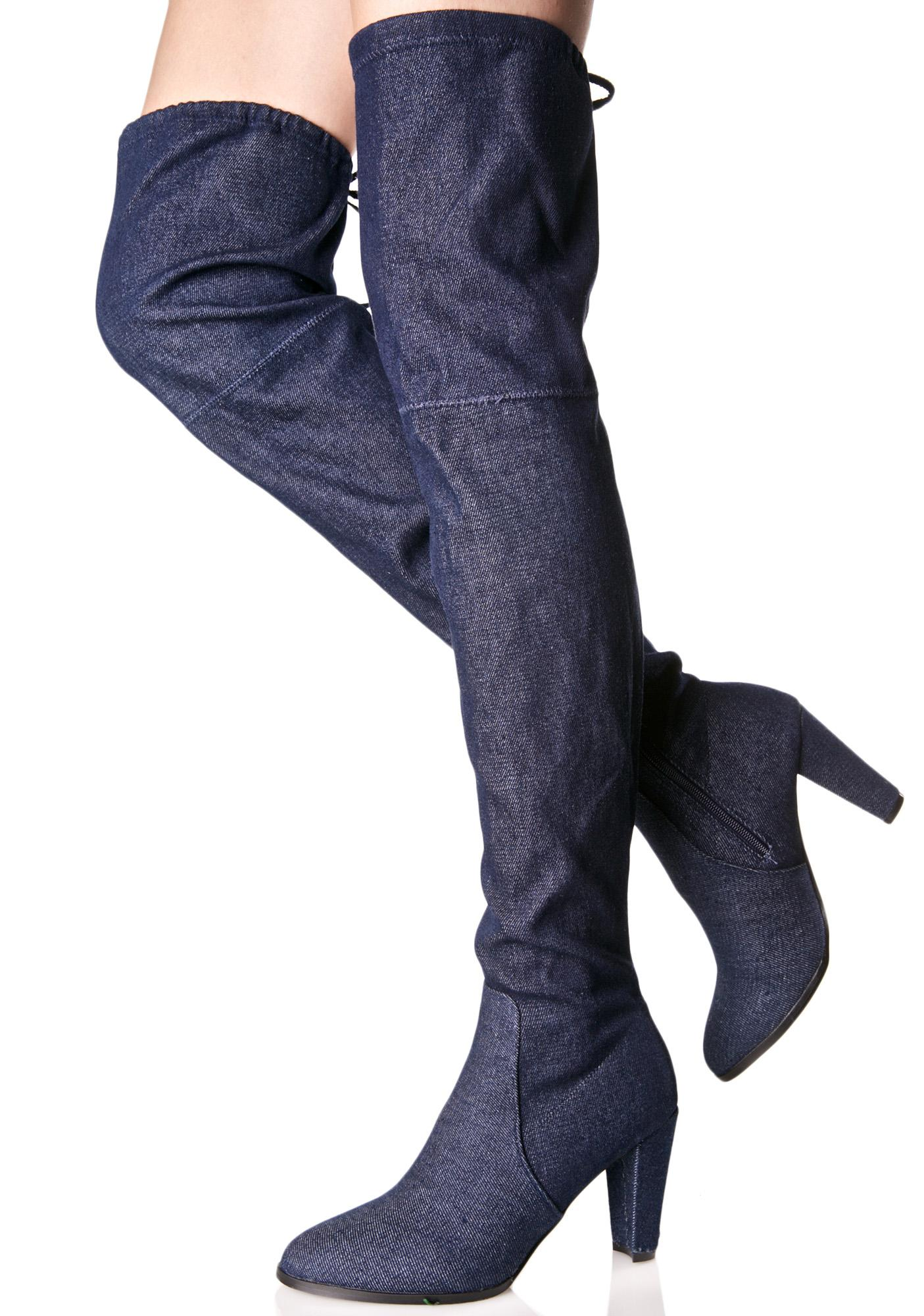 Denim Silencer Thigh-High Boots