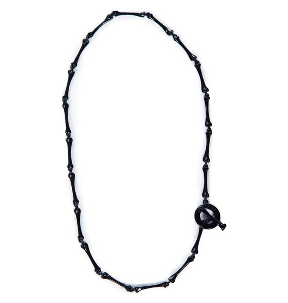 Wildfox Couture Black Hematite Foxy Bone Necklace