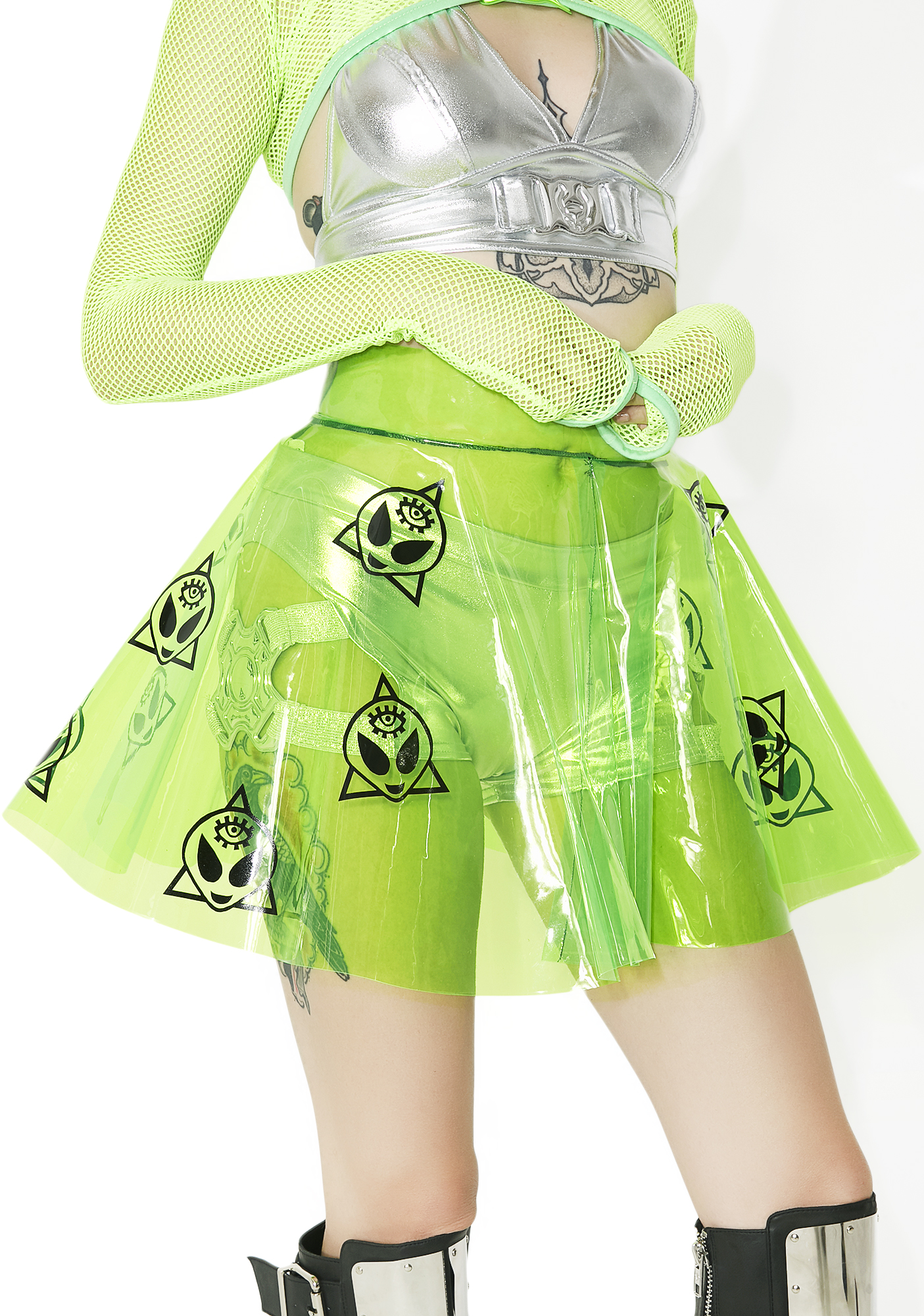 Cosmic Unicornz Alien Clear PVC Skirt