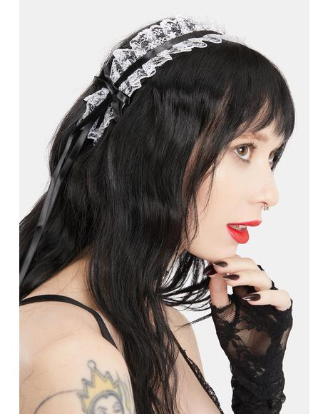 Ivory Miss Macabre Lace Headband