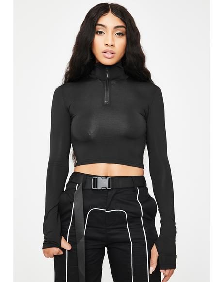 Black Aria Zipper Top