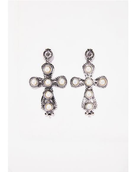 Miracle Drug Cross Earrings