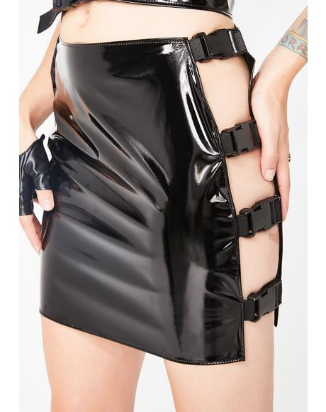 PVC Buckle Mini Skirt