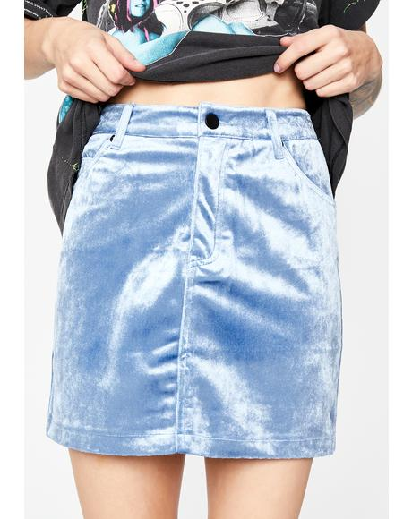 Sky Velvet Fog Mini Skirt