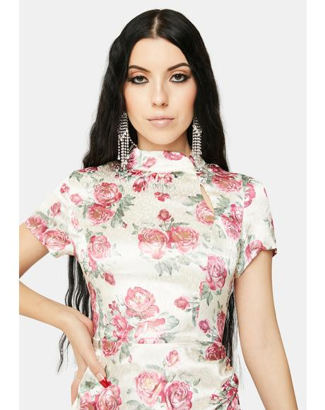 Cream Metallic Floral Mandarin Collar Dress