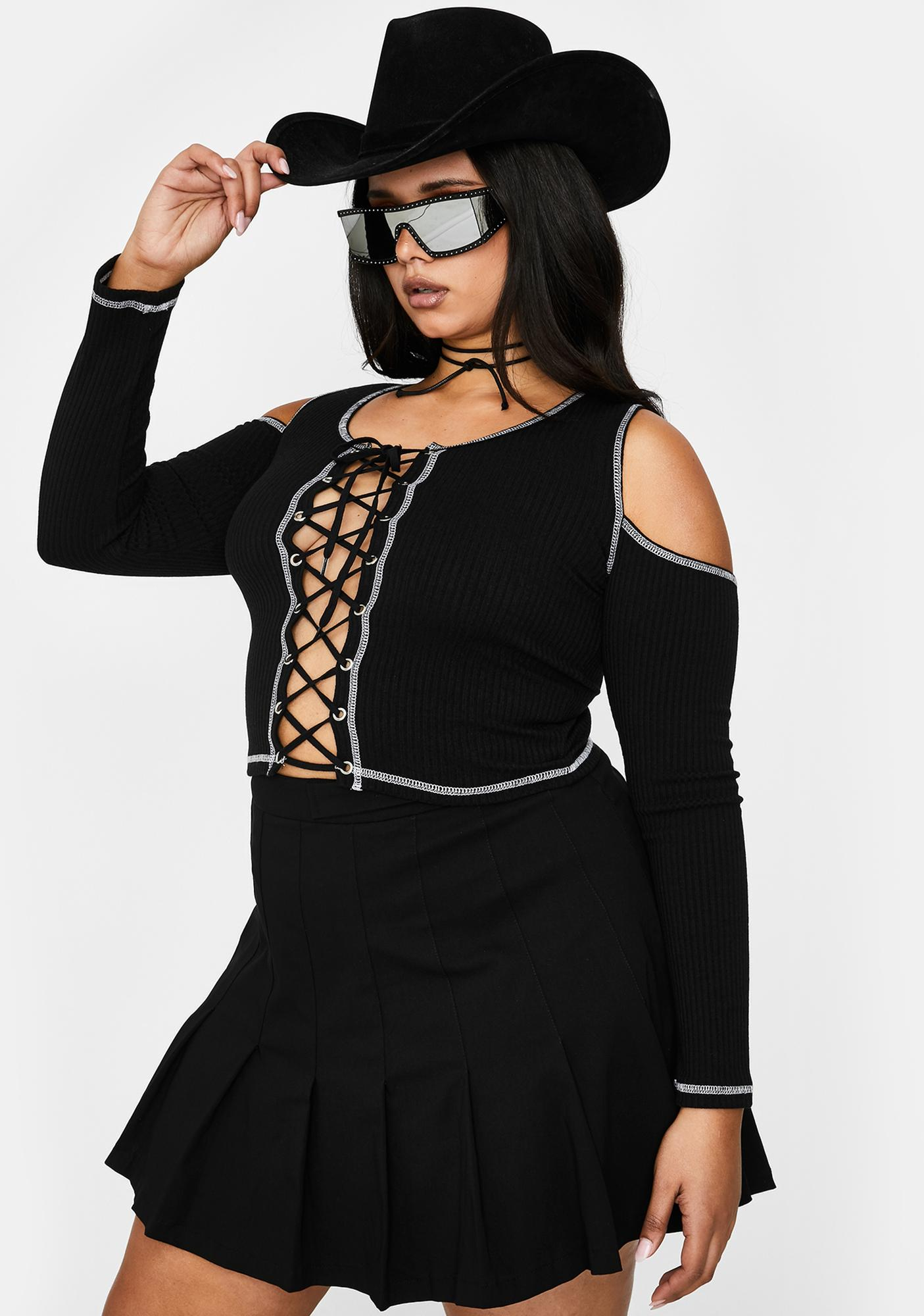 Poster Grl Duh It's Called Clout Lace Up Top