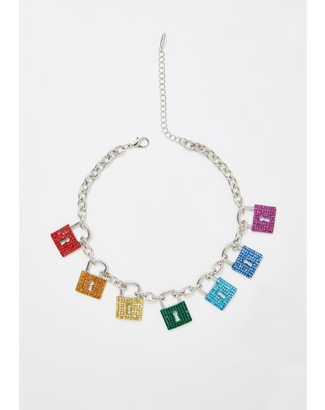Glam Locked Rhinestone Necklace