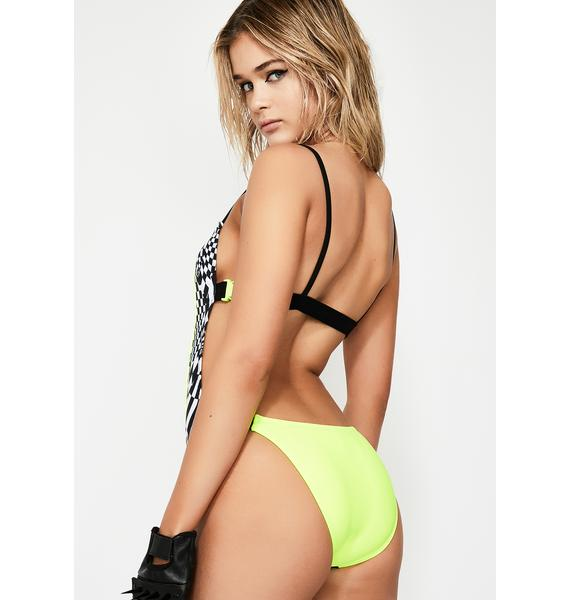 Jaded London Square Neck Buckle Swimsuit