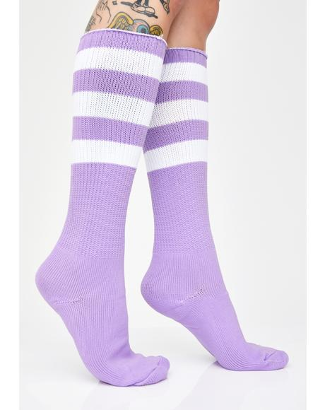 Grape Glow Digger Stripe Socks