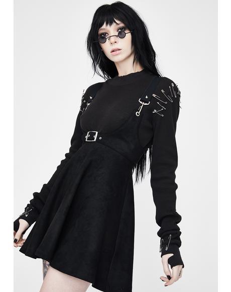 Velvet High Waist Strap Skirt