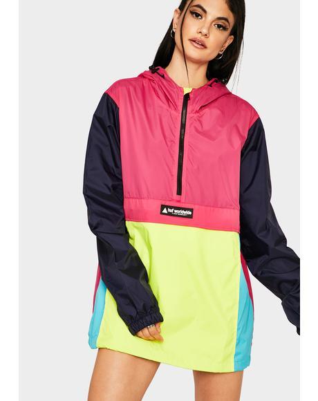 Hot Pink Wave Anorak Jacket